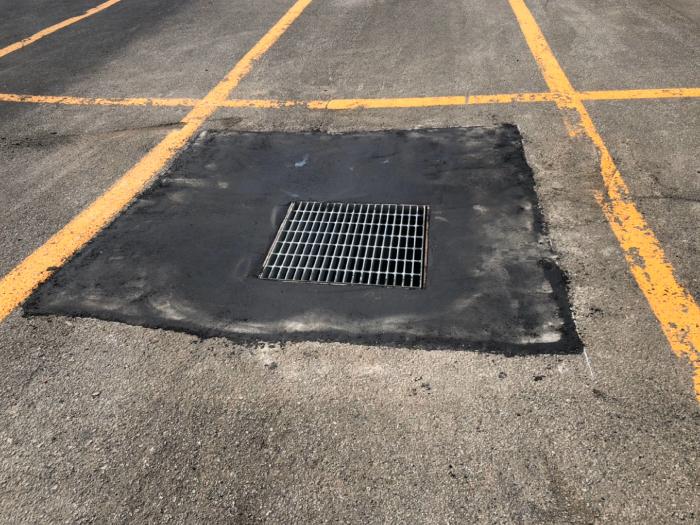 駐車場、雨水桝周りの陥没。補修工事施工完了2