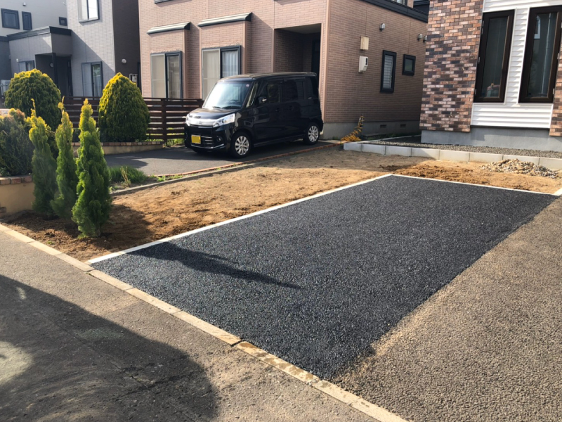 駐車場増設工事完了写真(札幌市北区屯田)