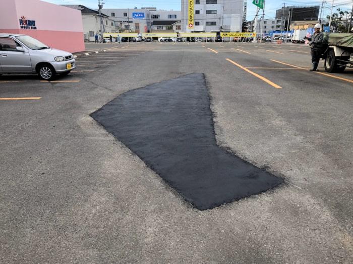 駐車場の陥没。補修工事完成写真1