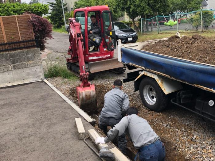 北広島市M様邸陥没復旧アスファルト補修。掘削の様子その1