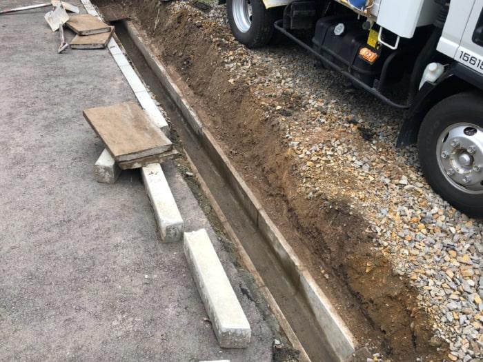 北広島市M様邸陥没復旧アスファルト補修。埋まっていた側溝の状態