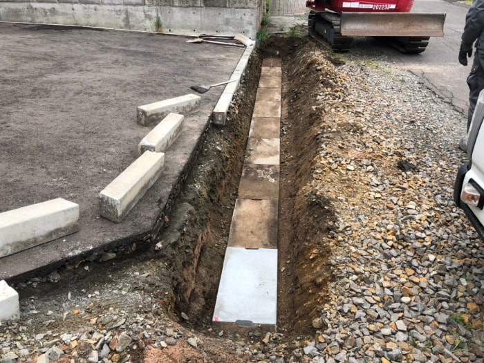 北広島市M様邸陥没復旧アスファルト補修。破損していた側溝の蓋を交換