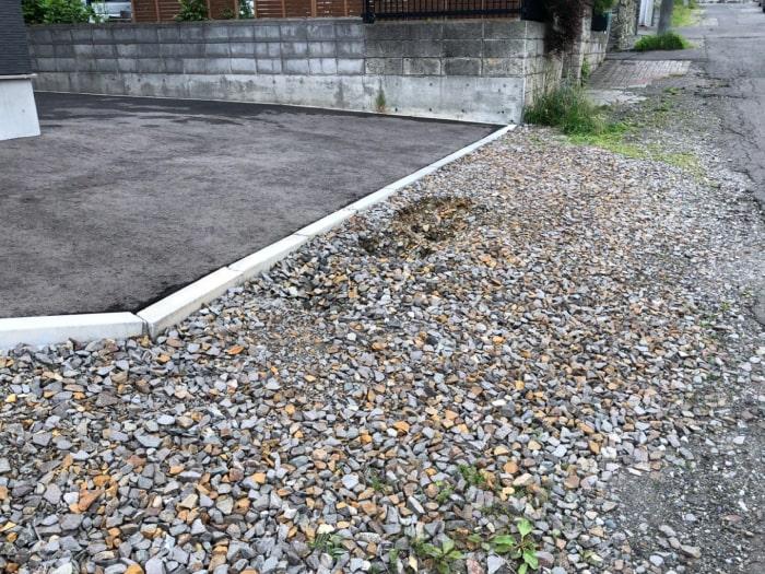 北広島市M様邸陥没復旧アスファルト補修施工前の写真